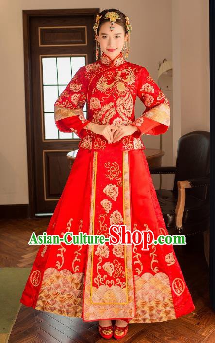 Ancient Chinese Wedding Costume Xiuhe Suits, China Traditional Bride Red Dress Restoring Embroidered Clothing for Women