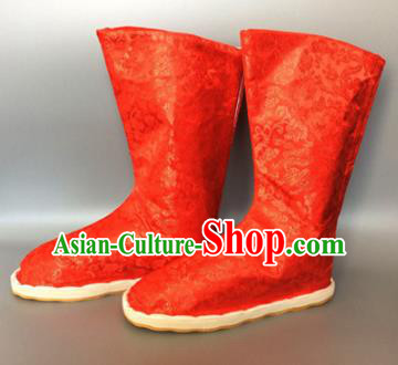 Asian Chinese Traditional Shoes Embroidered Red Shoes, China Ancient Hanfu Shoes Embroidered Satin Shoes