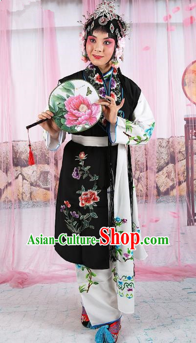 Chinese Beijing Opera Servant Girl Black Embroidered Costume, China Peking Opera Actress Embroidery Clothing