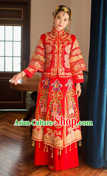 Chinese Traditional Wedding Xiuhe Suit Costume China Ancient Bride Cheongsam Embroidered Peony Toast Clothing for Women