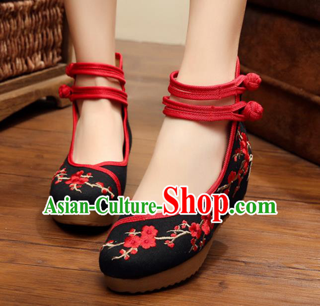 Asian Chinese Black Cloth Embroidered Shoes, Traditional China Princess Shoes Hanfu Embroidery Wintersweet Shoes for Women