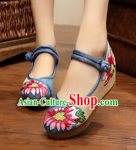 Asian Chinese National Blue Linen Embroidered Shoes, Traditional China Princess Shoes Hanfu Embroidery Shoes for Women