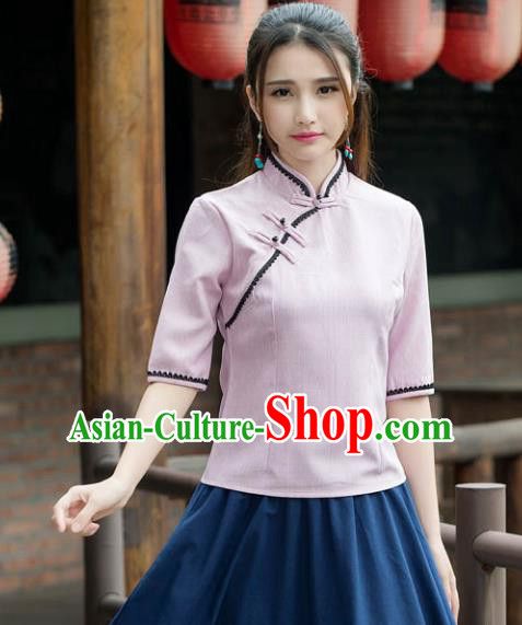 Traditional Chinese National Costume Hanfu Plated Buttons Pink Blouse, China Tang Suit Cheongsam Upper Outer Garment Shirt for Women
