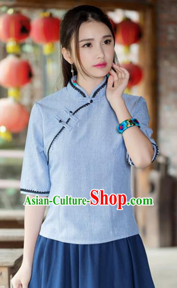 Traditional Chinese National Costume Hanfu Plated Buttons Blue Blouse, China Tang Suit Cheongsam Upper Outer Garment Shirt for Women