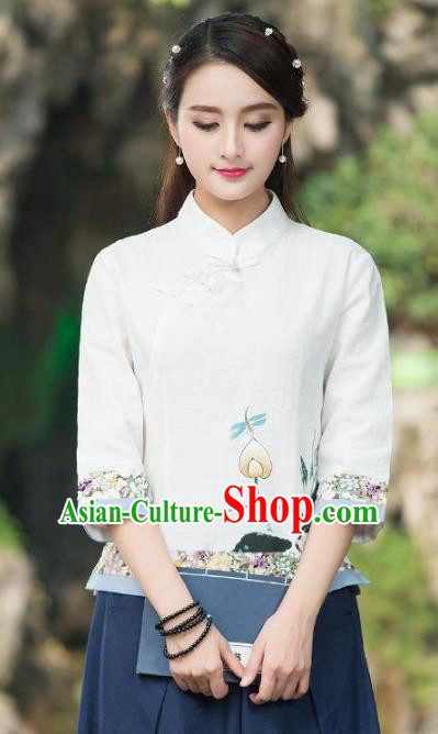 Traditional Chinese National Costume Hanfu Painting Lotus White Blouse, China Tang Suit Cheongsam Upper Outer Garment Shirt for Women