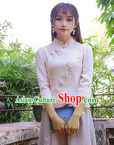 Traditional Chinese National Costume Hanfu Embroidered Pink Blouse, China Tang Suit Cheongsam Upper Outer Garment Shirt for Women