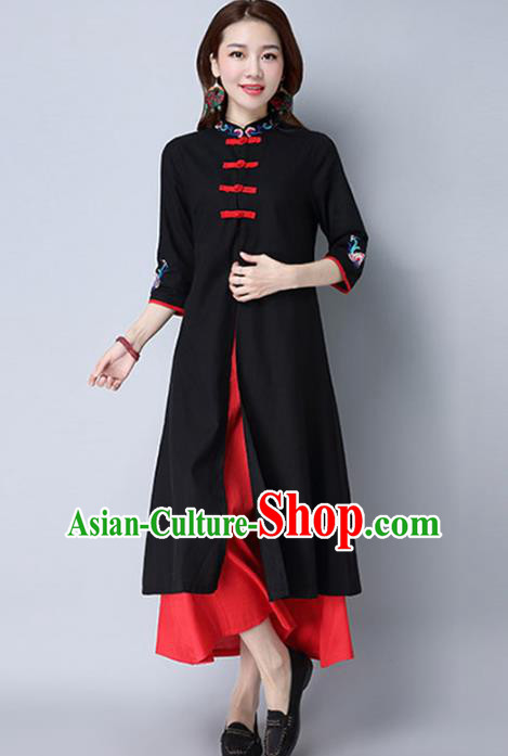 Traditional Chinese National Costume Hanfu Plated Buttons Qipao, China Tang Suit Cheongsam Dress for Women