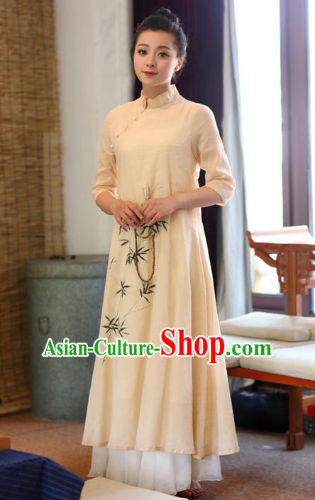 Traditional Chinese National Costume Hanfu Painting Bamboo Qipao Dress, China Tang Suit Cheongsam for Women