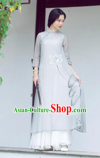 Traditional Chinese National Costume Hanfu Ink Painting Lotus Grey Qipao Dress, China Tang Suit Cheongsam for Women