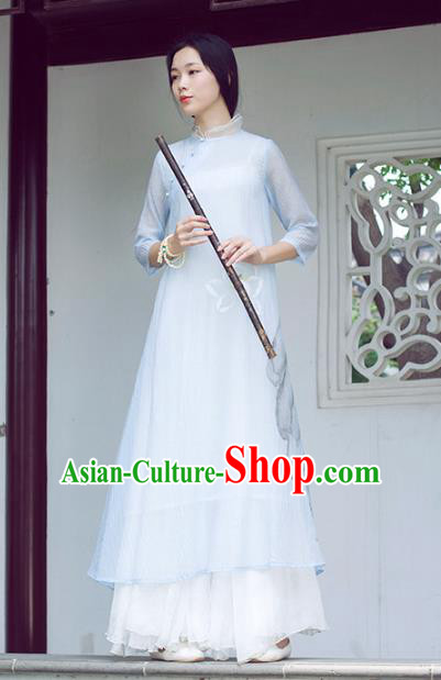Traditional Chinese National Costume Hanfu Ink Painting Lotus Blue Qipao Dress, China Tang Suit Cheongsam for Women