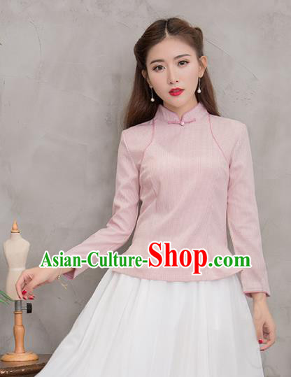 Traditional Chinese National Costume Hanfu Pink Stand Collar Blouse, China Tang Suit Cheongsam Upper Outer Garment Shirt for Women