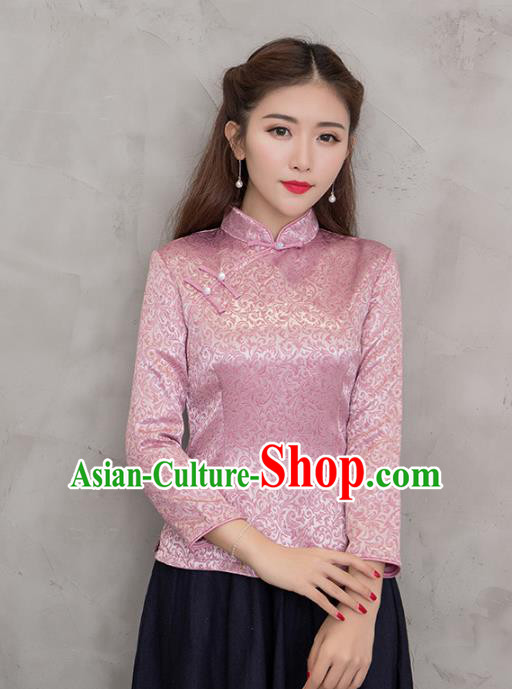 Traditional Chinese National Costume Hanfu Pink Satin Blouse, China Tang Suit Cheongsam Upper Outer Garment Shirt for Women