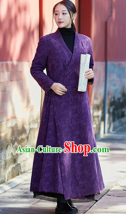 Traditional Chinese National Costume Hanfu Slant Opening Purple Coats, China Tang Suit Dust Coat for Women