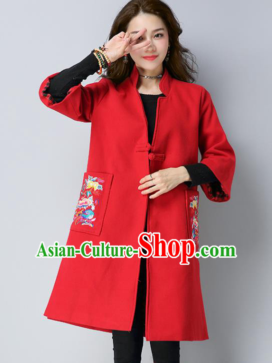 Traditional Chinese National Costume Hanfu Embroidered Red Coat, China Tang Suit Woolen Dust Coat for Women