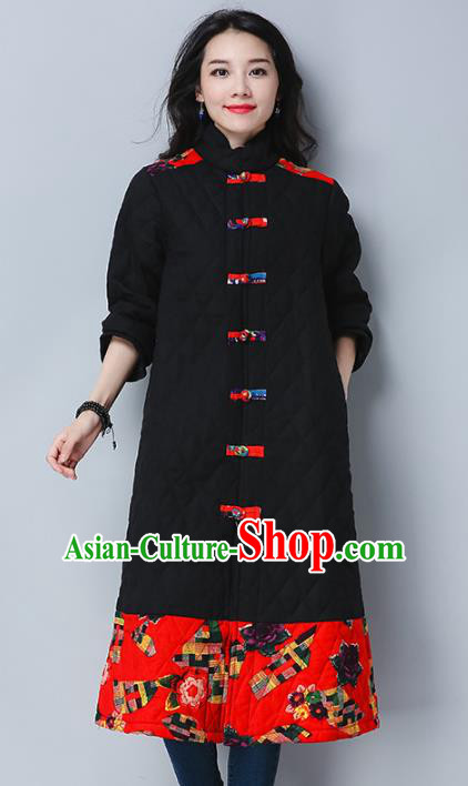 Traditional Chinese National Costume Hanfu Embroidered Cotton-padded Coat, China Tang Suit Plated Buttons Black Dust Coat for Women