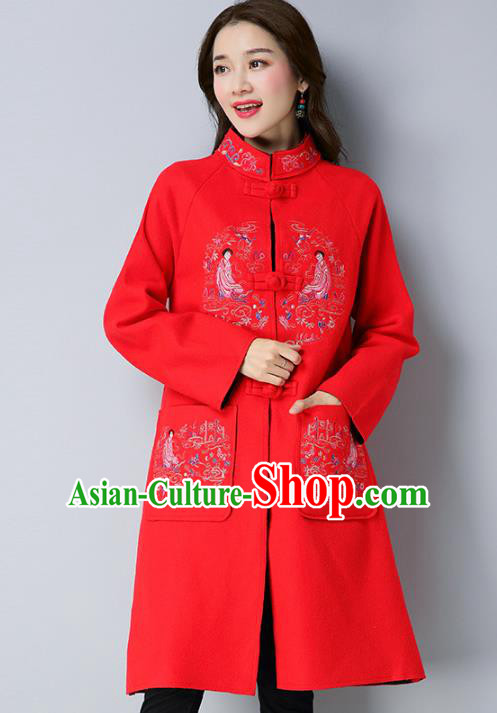 Traditional Chinese National Costume Hanfu Plated Buttons Red Embroidered Coats, China Tang Suit Coat for Women