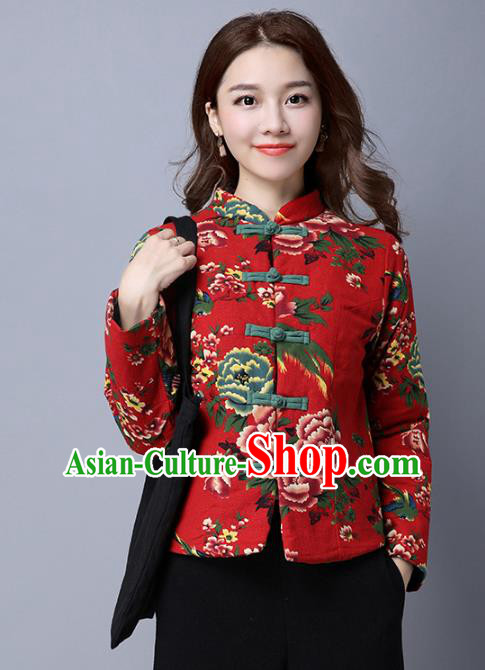 Traditional Chinese National Costume Hanfu Red Cotton-padded Jacket, China Tang Suit Coat for Women