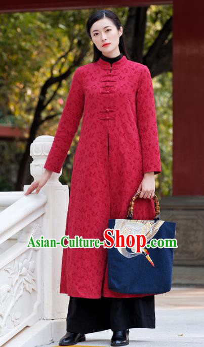 Traditional Chinese National Costume Hanfu Red Plated Buttons Dust Coat, China Tang Suit Coat for Women