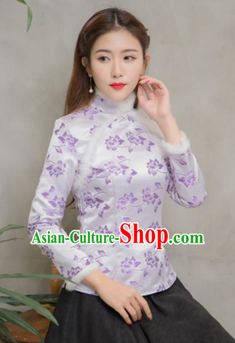 Traditional Chinese National Costume Hanfu Purple Satin Qipao Blouse, China Tang Suit Cheongsam Shirts for Women