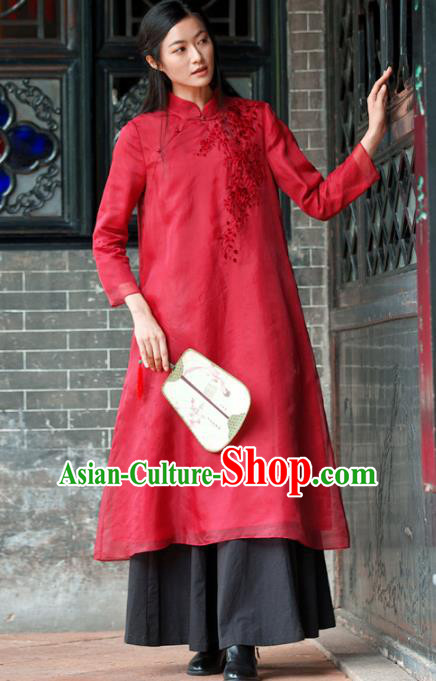 Traditional Chinese National Costume Hanfu Red Linen Embroidered Qipao, China Tang Suit Cheongsam Dress for Women