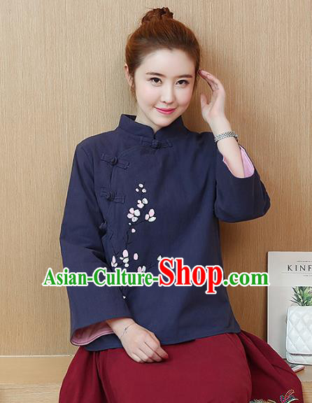 Traditional Chinese National Costume Hanfu Navy Qipao Blouse, China Tang Suit Cheongsam Shirts for Women