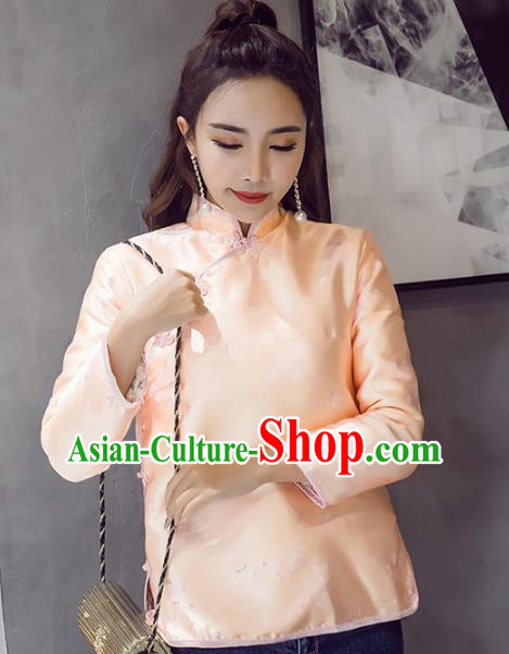 Traditional Chinese National Costume Hanfu Pink Satin Qipao Blouse, China Tang Suit Cheongsam Shirts for Women