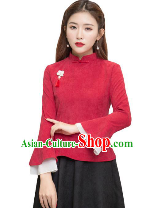 Traditional Chinese National Costume Hanfu Red Qipao Blouse, China Tang Suit Cheongsam Shirts for Women