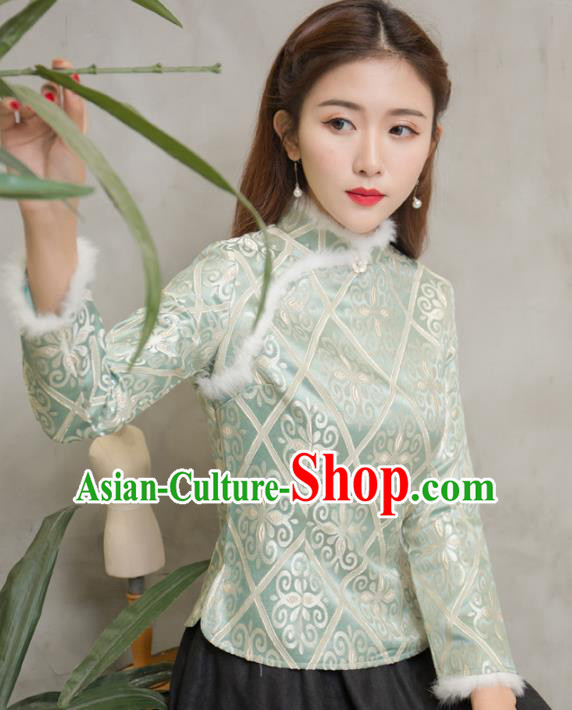 Traditional Chinese National Costume Hanfu Green Qipao Blouse, China Tang Suit Cheongsam Shirts for Women