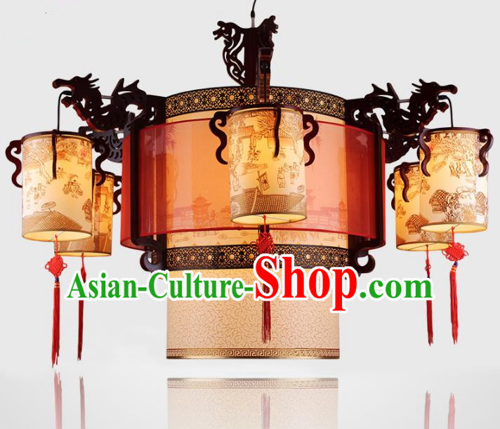 Traditional Chinese Handmade Dragons Head Lantern Classical Wood Carving Palace Lantern China Ceiling Palace Lamp