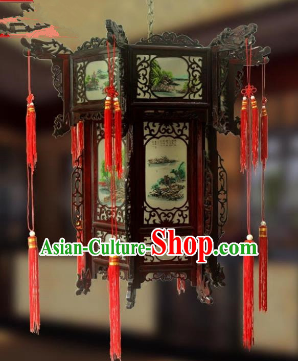 Traditional Chinese Handmade Landscape Painting Lantern Classical Wood Palace Lantern China Ceiling Palace Lamp