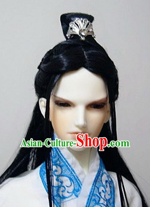 Traditional Handmade Chinese Ancient Han Dynasty Prince Hair Accessories Wig Sheath for Men