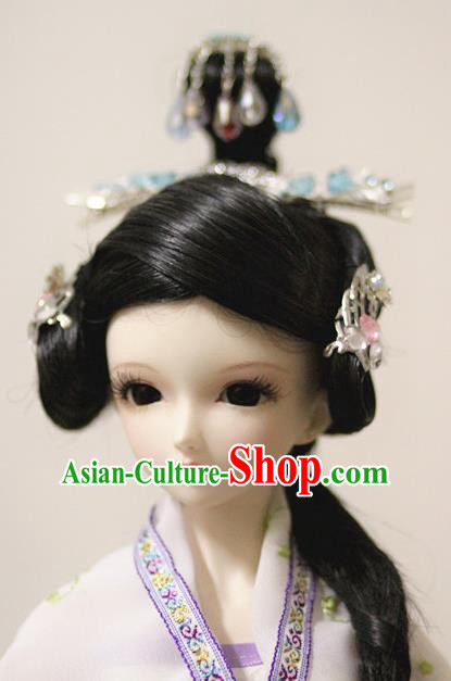Traditional Handmade Chinese Ancient Han Dynasty Nobility Lady Hair Accessories Palace Princess Wig Sheath for Women