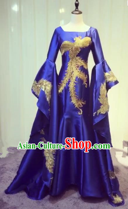 Chinese Style Wedding Catwalks Costume Wedding Bride Embroidery Phoenix Trailing Full Dress Compere Cheongsam for Women