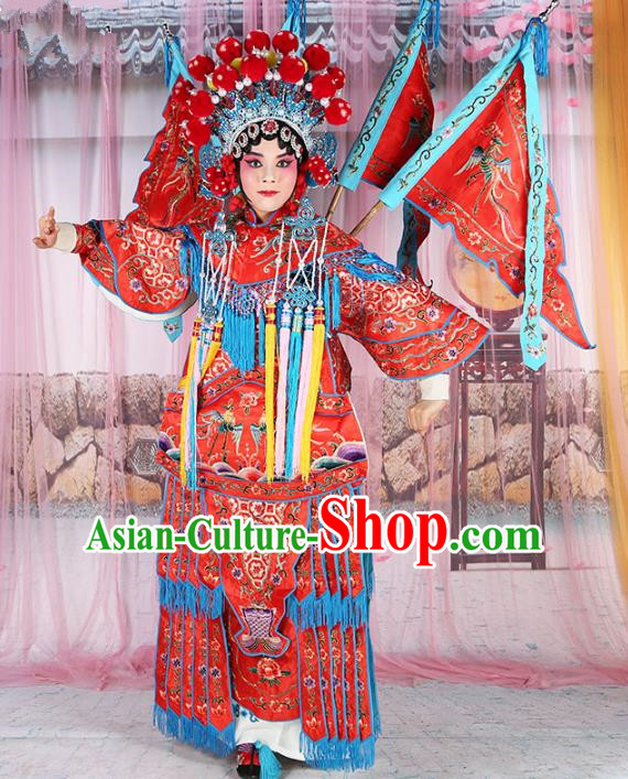 Chinese Beijing Opera Female General Costume Embroidered Red Robe, China Peking Opera Blues Embroidery Gwanbok Clothing