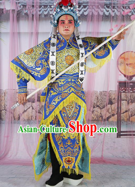 Chinese Beijing Opera Takefu Costume Blue Embroidered Robe, China Peking Opera Imperial Bodyguard Embroidery Gwanbok Clothing