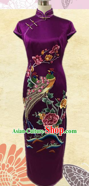 Traditional Chinese National Costume Purple Mandarin Qipao, Tang Suit Embroidered Chirpaur Silk Cheongsam Clothing for Women