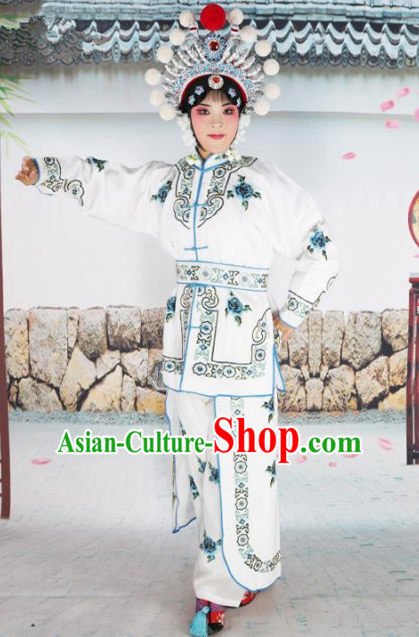 Chinese Beijing Opera Female Swordplay White Embroidered Costume, China Peking Opera Blues Warrior Embroidery Gwanbok Clothing
