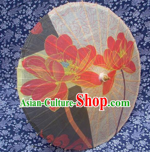 Handmade China Traditional Dance Ink Painting Lotus Umbrella Oil-paper Umbrella Stage Performance Props Umbrellas