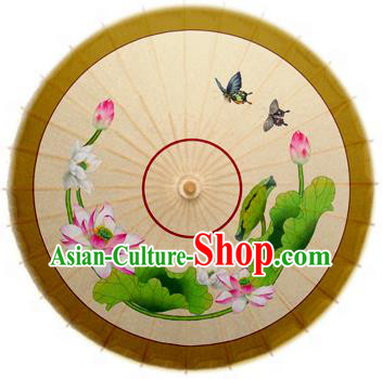 Handmade China Traditional Dance Umbrella Classical Painting Lotus Flowers Oil-paper Umbrella Stage Performance Props Umbrellas