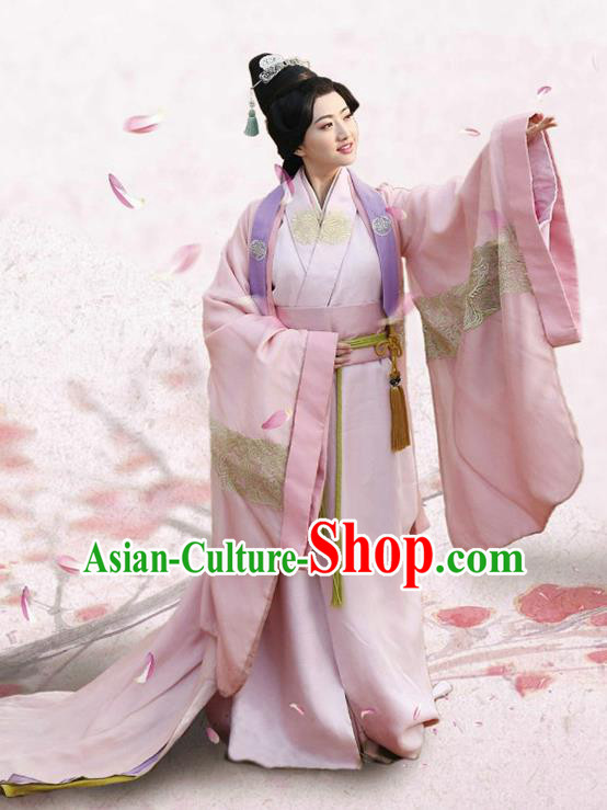 Traditional Chinese Ancient Han Dynasty Palace Lady Princess Embroidered Dress Costume for Women