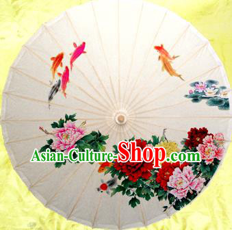 Handmade China Traditional Folk Dance Umbrella Painting Peony Fishes Oil-paper Umbrella Stage Performance Props Umbrellas