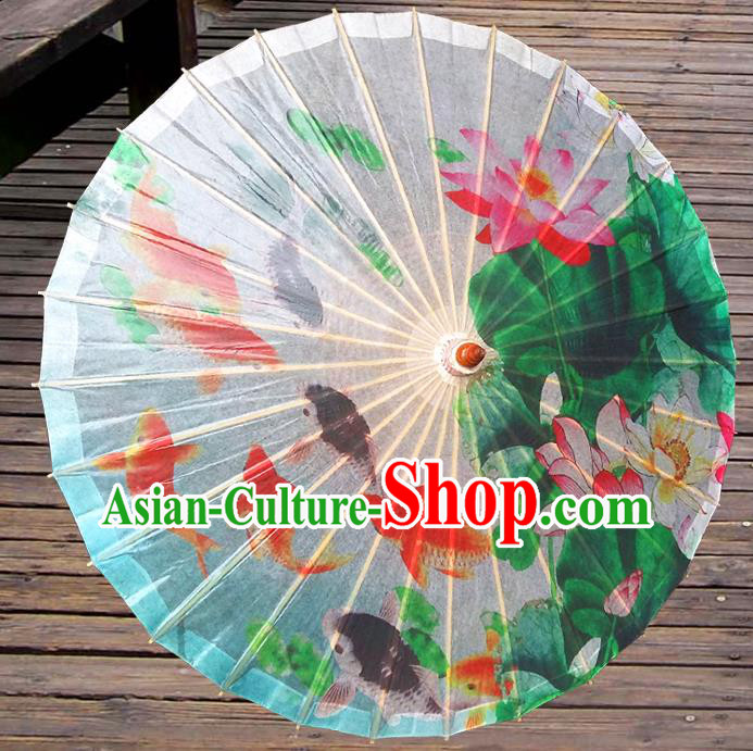 Handmade China Traditional Folk Dance Umbrella Painting Lotus Fishes Oil-paper Umbrella Stage Performance Props Umbrellas