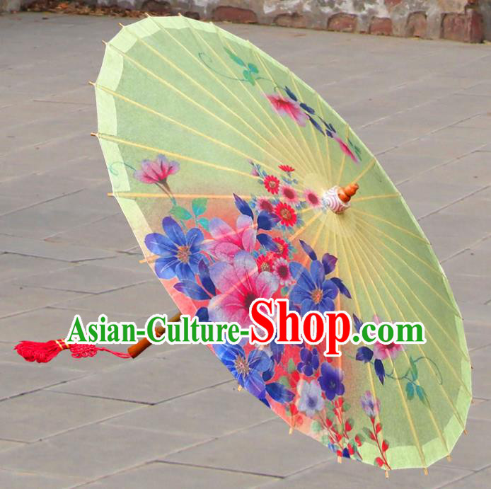 Handmade China Traditional Folk Dance Umbrella Painting Flowers Yellow Oil-paper Umbrella Stage Performance Props Umbrellas