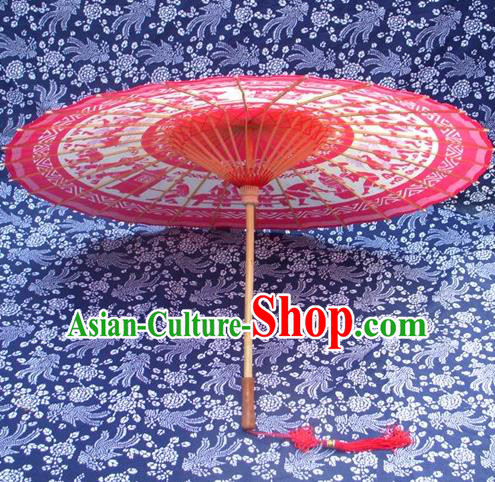 Handmade China Traditional Folk Dance Umbrella Painting Bride Red Oil-paper Umbrella Stage Performance Props Umbrellas