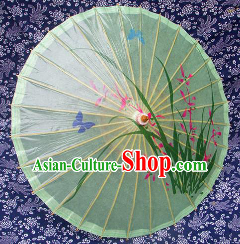 Handmade China Traditional Folk Dance Umbrella Painting Orchid Green Oil-paper Umbrella Stage Performance Props Umbrellas