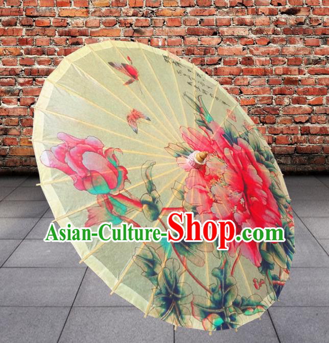 Handmade China Traditional Folk Dance Umbrella Painting Flowers Oil-paper Umbrella Stage Performance Props Umbrellas