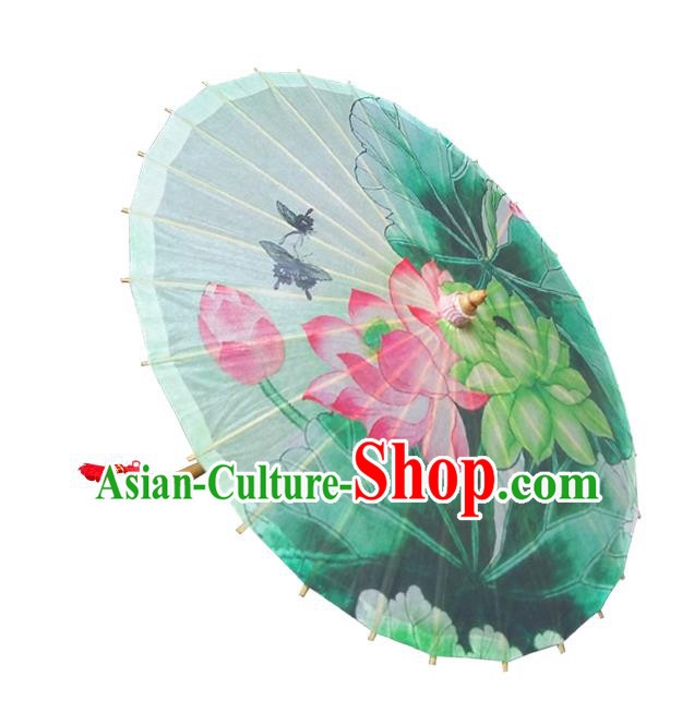 Handmade China Traditional Folk Dance Umbrella Painting Lotus Flowers Oil-paper Umbrella Stage Performance Props Umbrellas