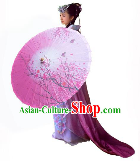 Handmade China Traditional Folk Dance Umbrella Painting Wintersweet Pink Oil-paper Umbrella Stage Performance Props Umbrellas