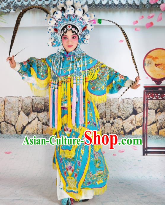 Chinese Beijing Opera Female General Embroidered Blue Costume, China Peking Opera Blues Embroidery Clothing