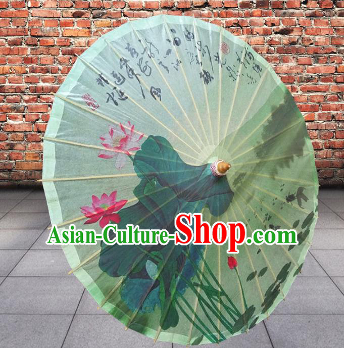 Handmade China Traditional Folk Dance Umbrella Stage Performance Props Umbrellas Painting Lotus Green Oil-paper Umbrella